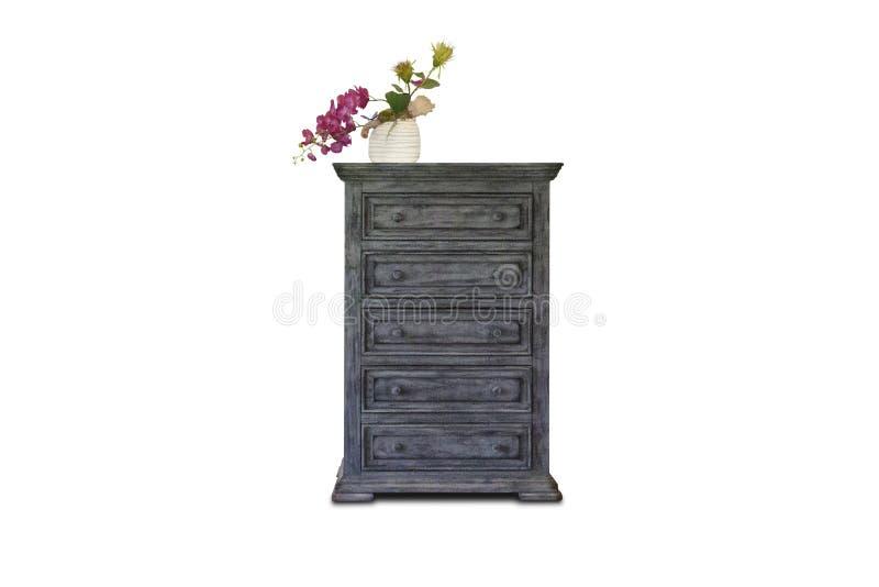 H?lzernes Kabinett, stehende Lampe und Blumenvase mit Weinlesefoto-Rahmeninnenraum stockfotos