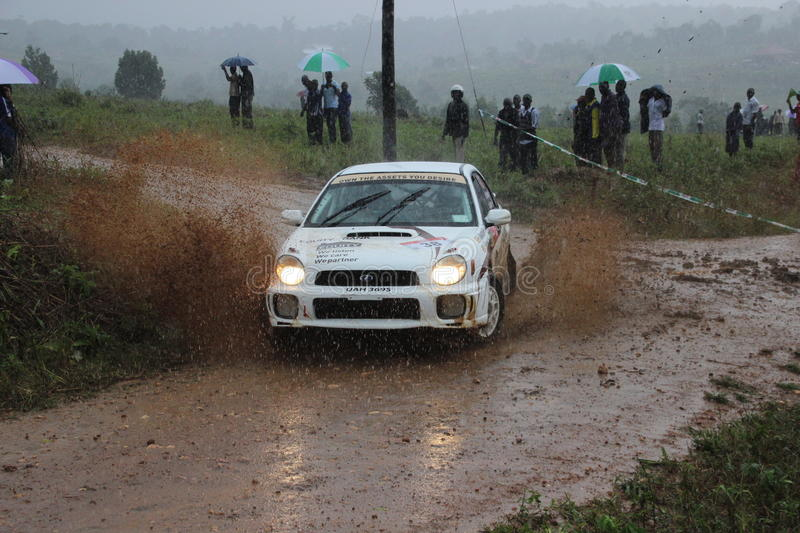 H. Mawanda and J. Burrows. At the V-Power Pearl of Africa Rally 2014 in Uganda stock image