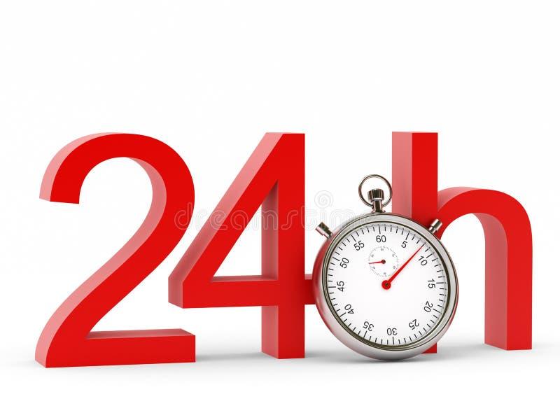 24h mit Stoppuhr auf weißem Hintergrund vektor abbildung