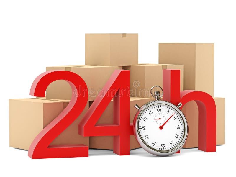 24h mit Stoppuhr und Kasten auf weißem Hintergrund vektor abbildung