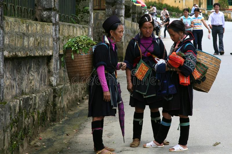 H'Mong People of Sapa Vietnam. SAPA, VIETNAM: unidentified H'mong hilltribe girls and woman in Sapa, Vietnam royalty free stock photography