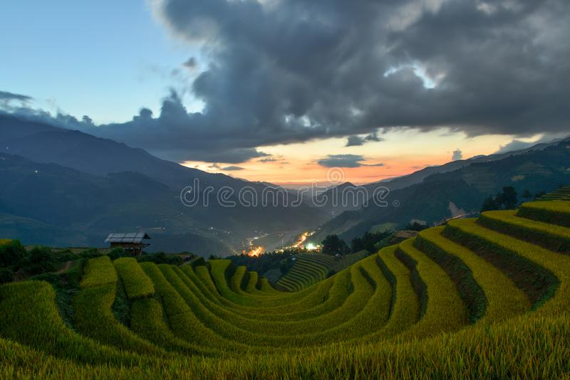 Sang Nhu horse-shoe and Terraced rice field of the H`Mong ethnic people. The H`Mong`s terraced rice field which is called `horse shoe` Vietnamese: Sang Nhu in La royalty free stock photo