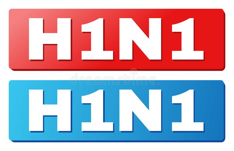 H1N1 Caption on Blue and Red Rectangle Buttons. H1N1 text on rounded rectangle buttons. Designed with white caption with shadow and blue and red button colors royalty free illustration