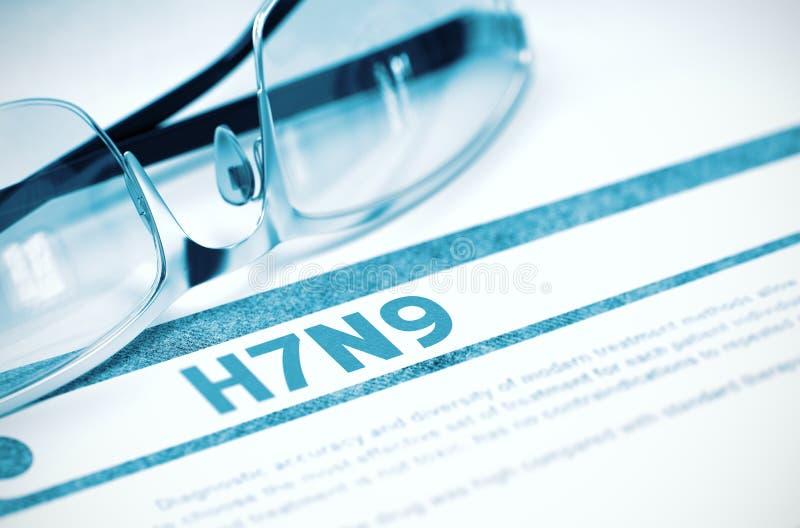 H7N9 - Diagnosis impresa Concepto de la medicina ilustración 3D imágenes de archivo libres de regalías