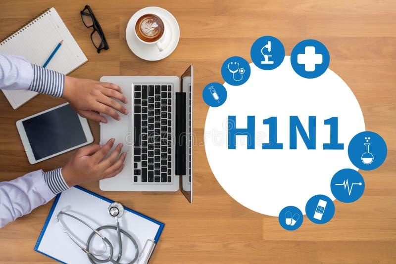 H1N1 , Influenza virus positive H1N1 , H1N1. Medical Report stock photo