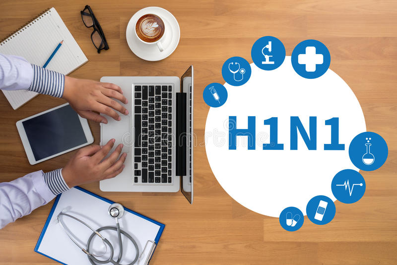 H1N1, virus de gripe H1N1 positivo, H1N1 Informe médico foto de archivo