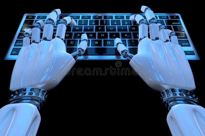 H?nder av ai-roboten som skriver p? tangentbord Robotic armcyborghand genom att använda tangentborddatoren 3D framf?r den realist stock illustrationer
