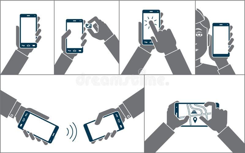 H?nder genom att anv?nda mobiltelefonen vektor illustrationer
