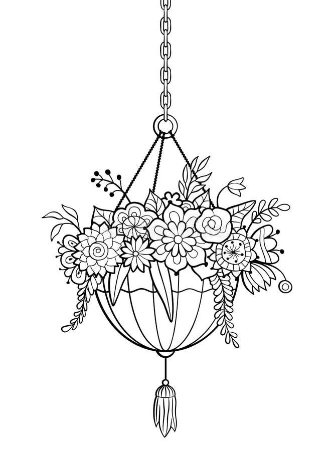 H?ngande blomkruka Antistress f?rgl?ggningsida stock illustrationer