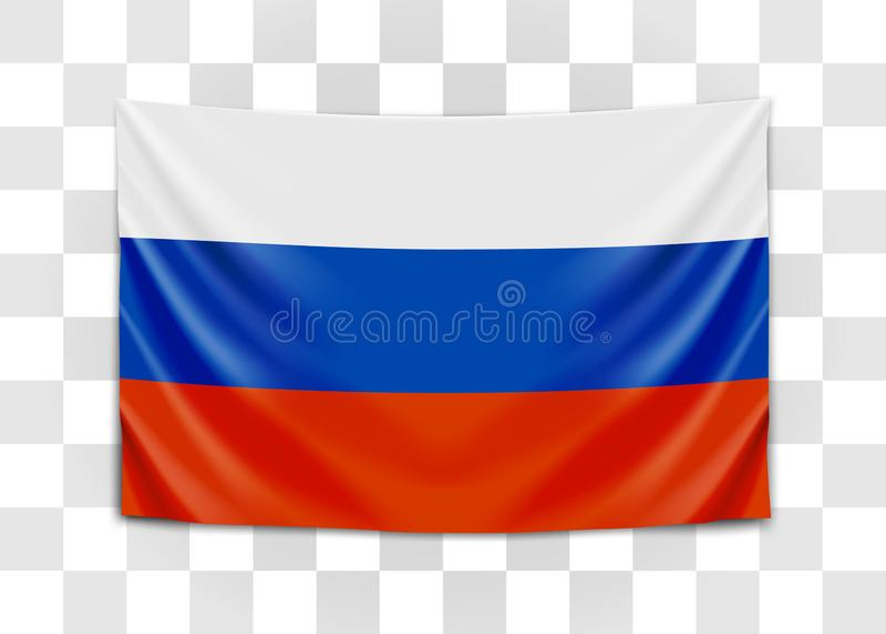 H?ngande flagga av Ryssland Rysk federation Nationsflaggabegrepp royaltyfri illustrationer