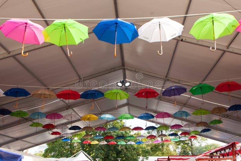 H?ngande paraplyer royaltyfri bild