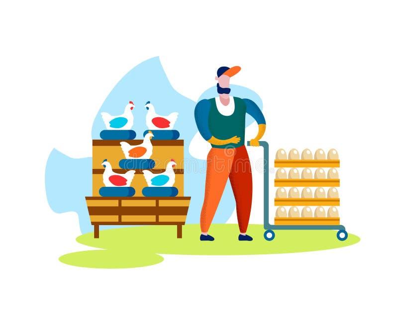 H?nsfabrik Hönor som lägger ägg på sittpinnen royaltyfri illustrationer