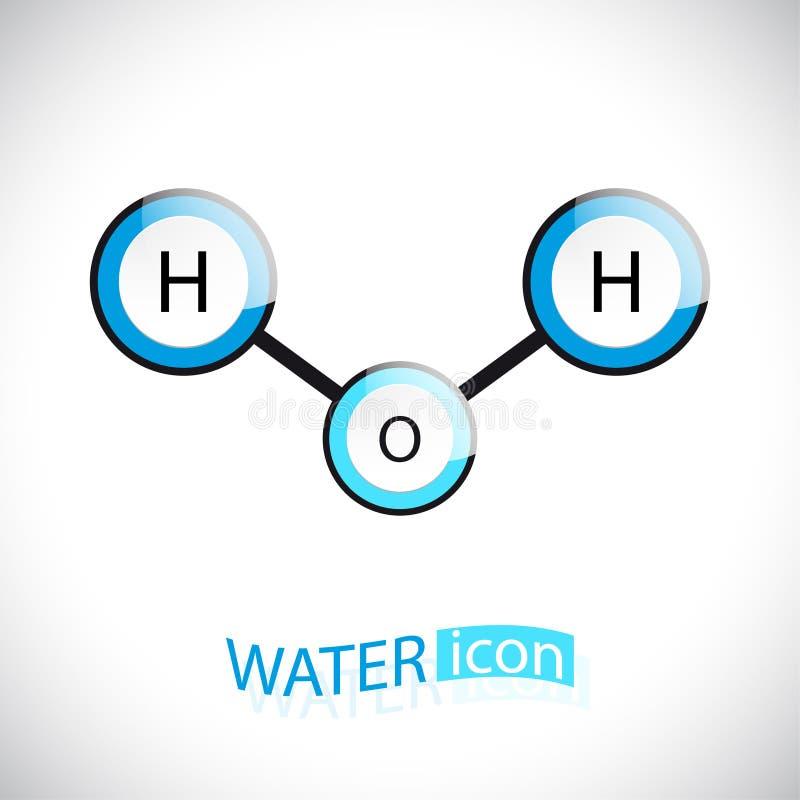 H2o Значок молекулы воды иллюстрация вектора