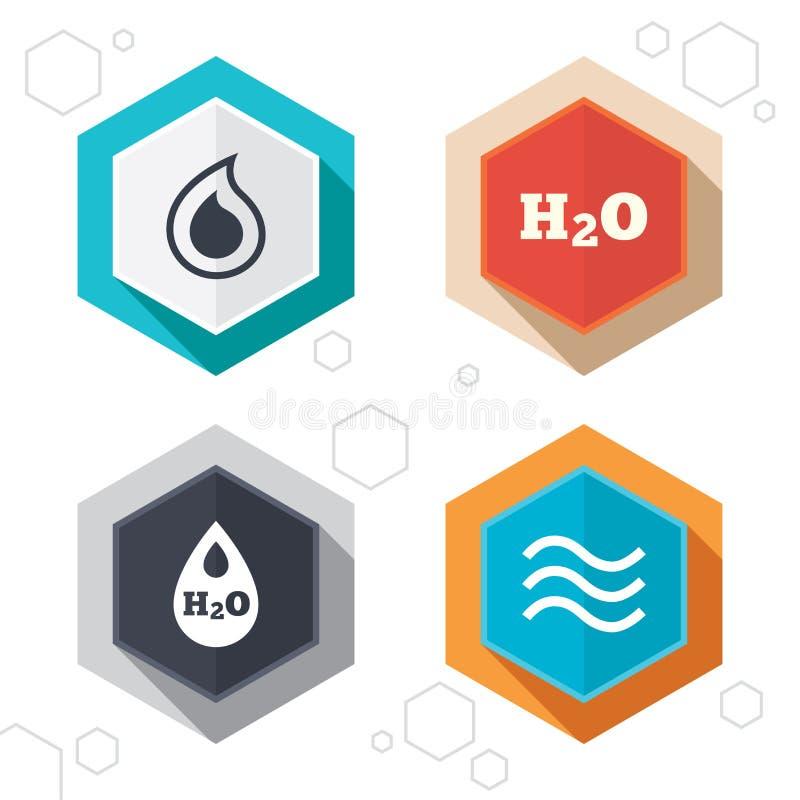 H2O de pictogrammen van de waterdaling Scheur of Oliesymbolen vector illustratie