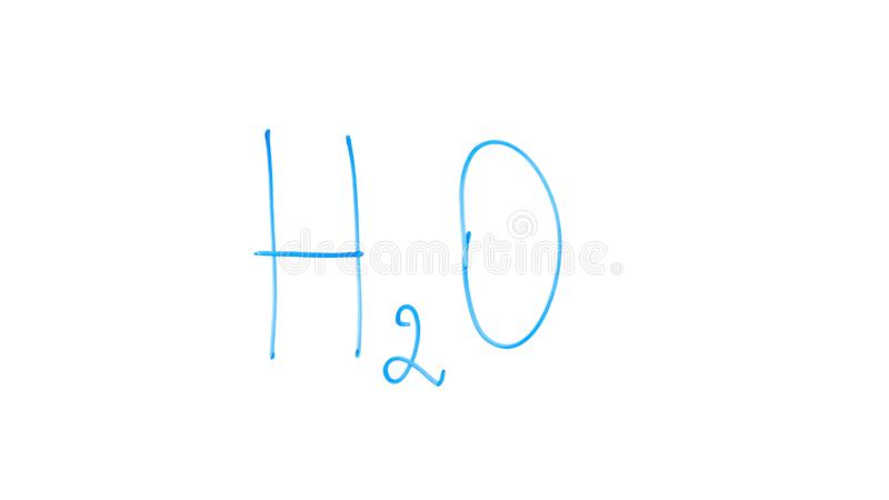 H2O formula written on glass, basic chemistry lesson about molecule of water stock photography