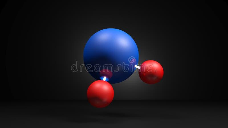 H2O Molecule model on black background - 3D rendering illustration. The model of a H2O water molecule, isolated on black background - 3D rendering illustration royalty free illustration