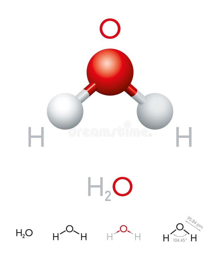 H2O-Wassermolekülmodell und chemische Formel lizenzfreie abbildung