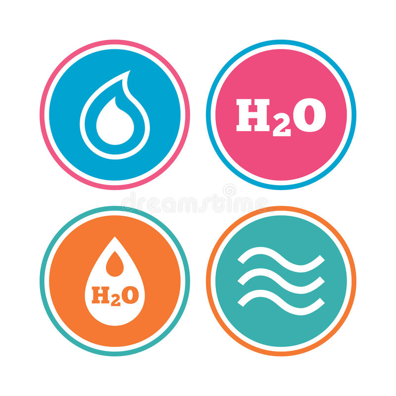 H2o Water Drop Icons Tear Or Oil Symbols Stock Vector