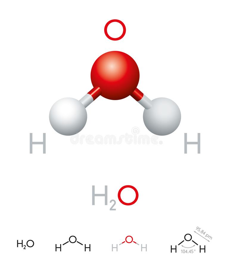 H2O Water molecule model and chemical formula. H2O. Water molecule model, chemical formula, ball-and-stick model, geometric structure and structural formula royalty free illustration