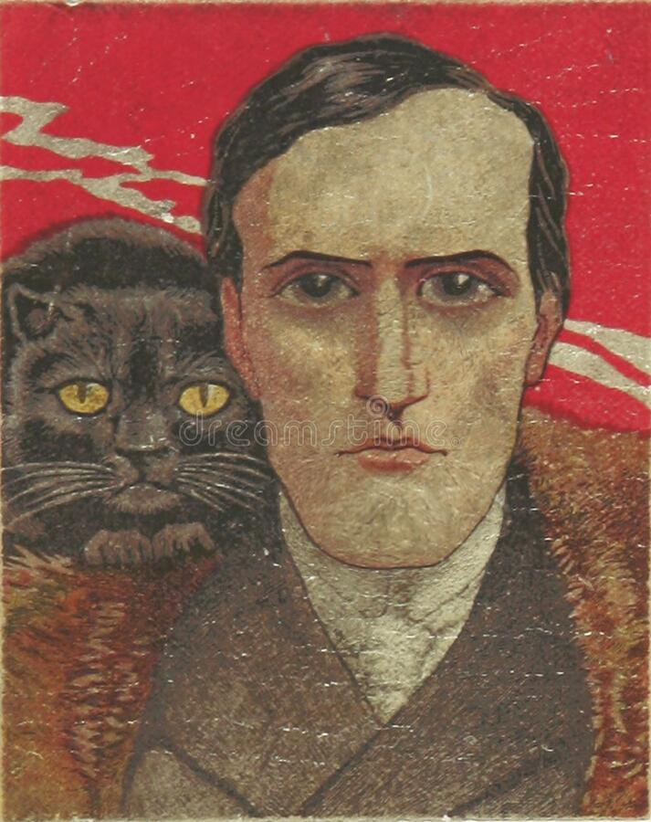 H.P. Lovecraft and cat? stock image