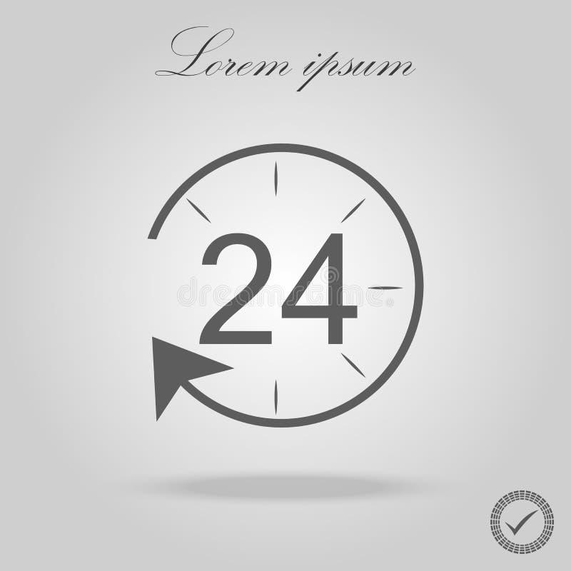 24h pictogram op witte achtergrond Vectorvoorraad stock illustratie