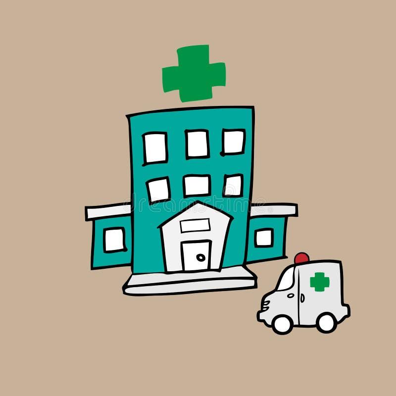 Hôpital et ambulance illustration libre de droits