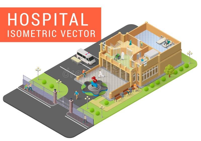 Hôpital isométrique de vecteur illustration libre de droits