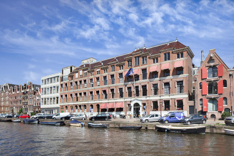 Hôpital situé à la ceinture historique de canal, Amsterdam, Hollandes image libre de droits