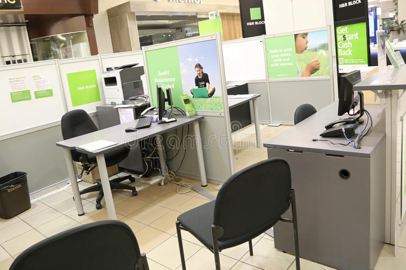 H&R Block simply office inside mall. H&R Block is a tax preparation company in the United States, claiming more than 24.5 million tax returns prepared worldwide royalty free stock images