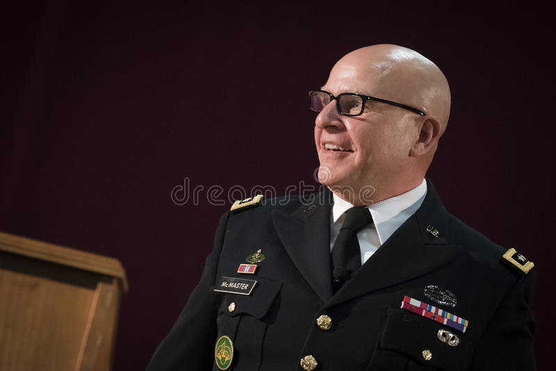 H. R. Mcmaster. United States National Security Advisor H. R. Mcmaster answers a question from a student at Norwich University during the ROTC 100 celebration royalty free stock photos