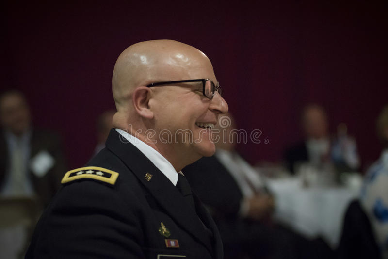 H. R. Mcmaster. United States National Security Advisor H. R. Mcmaster answers a question from a student at Norwich University during the ROTC 100 celebration royalty free stock image