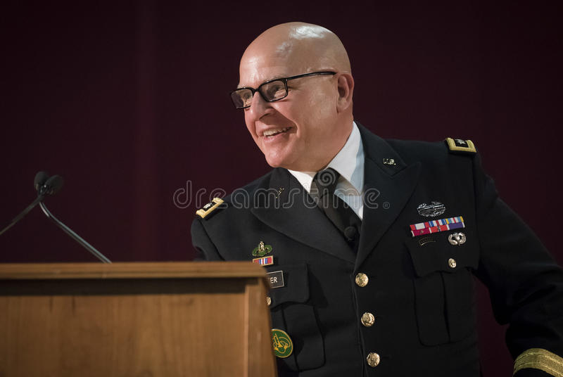 H. R. Mcmaster. United States National Security Advisor H. R. Mcmaster answers a question from a student at Norwich University during the ROTC 100 celebration royalty free stock images