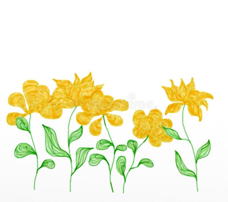 h?rlig blommafj?deryellow Illustration tilldelad till v royaltyfri illustrationer