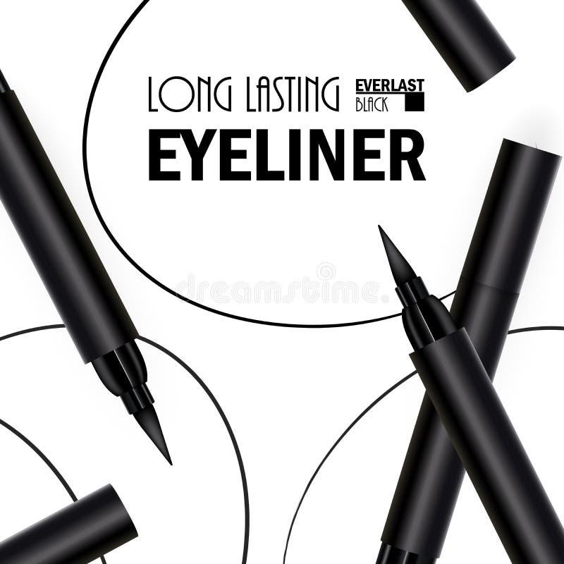 H?rlig eyeliner Pen Poster f?r befordran av den kosmetiska h?gv?rdiga produkten Kosmetiska annonser f?r att f?rpacka med grafiska fotografering för bildbyråer