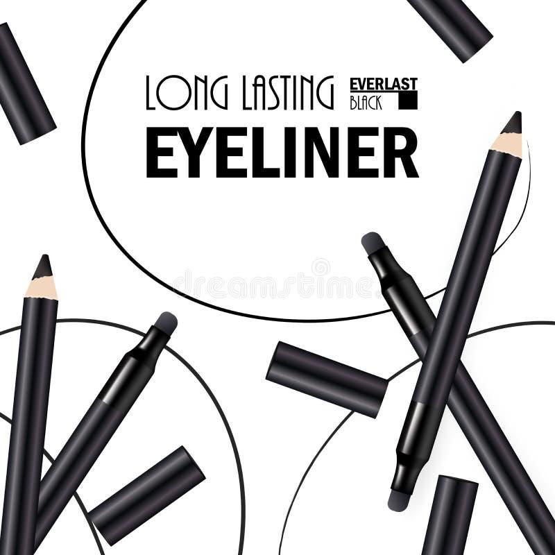 H?rlig eyeliner Pen Poster f?r befordran av den kosmetiska h?gv?rdiga produkten Kosmetiska annonser f?r att f?rpacka med grafiska arkivfoton