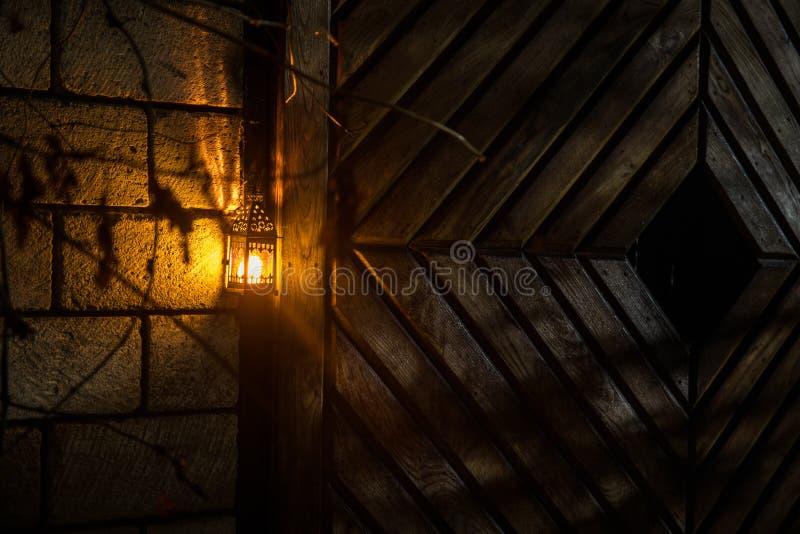 H?rlig f?rgrik upplyst lampa i tr?dg?rden i dimmig natt Retro stillykta p? den utomhus- natten royaltyfri fotografi