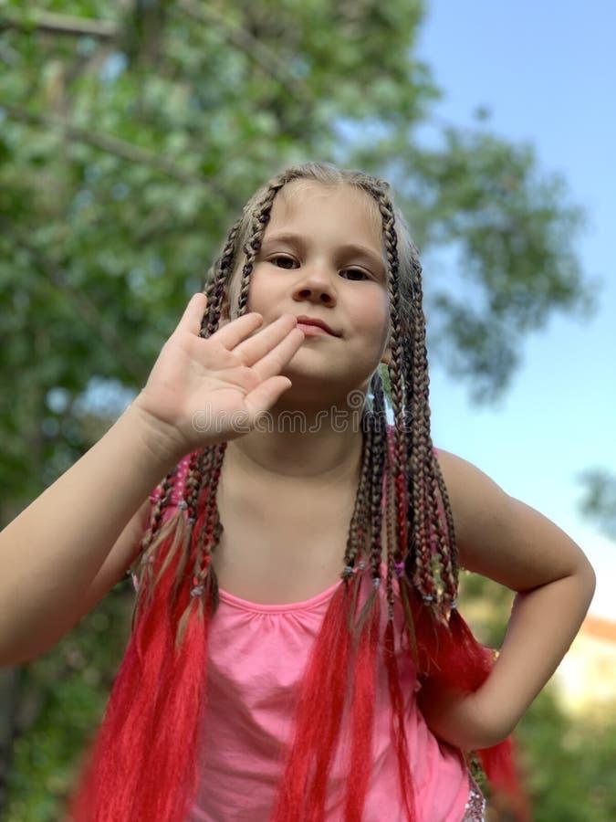 h?rlig flicka little En flicka med afrikanska flätade trådar arkivfoton