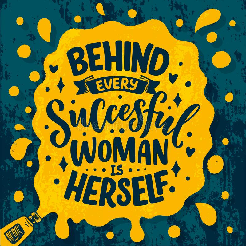H?rlig illustration med bokst?ver om kvinna Handskrivet inspirerande motivational citationstecken malldesignbest?ndsdel tryck arkivbild
