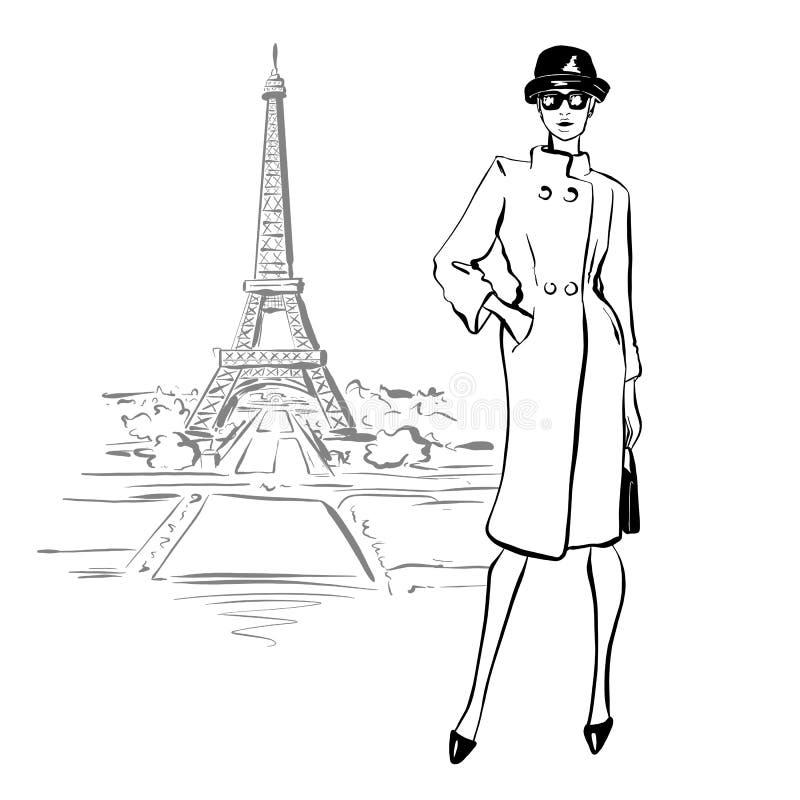 H?rlig kvinna i retro stil i Paris Tappningkl?nning arkivbilder