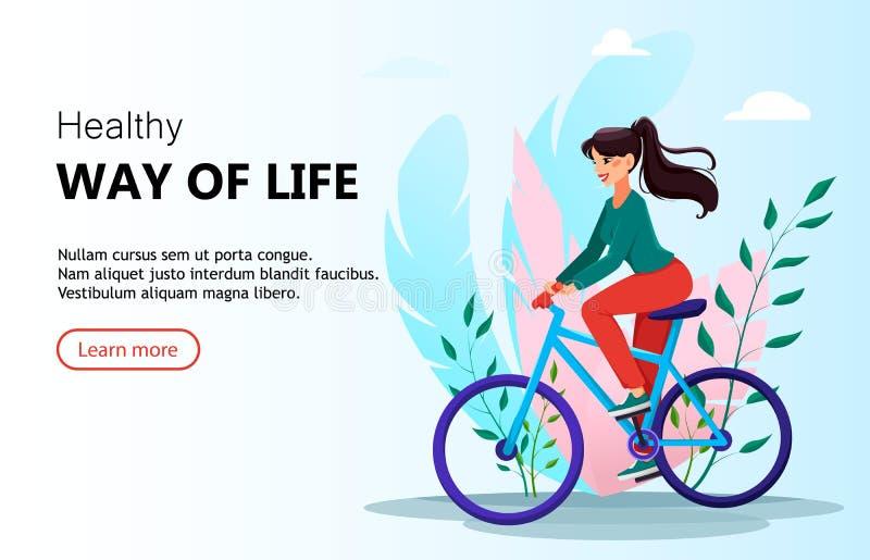 H?rlig kvinna som rider en cykel stock illustrationer