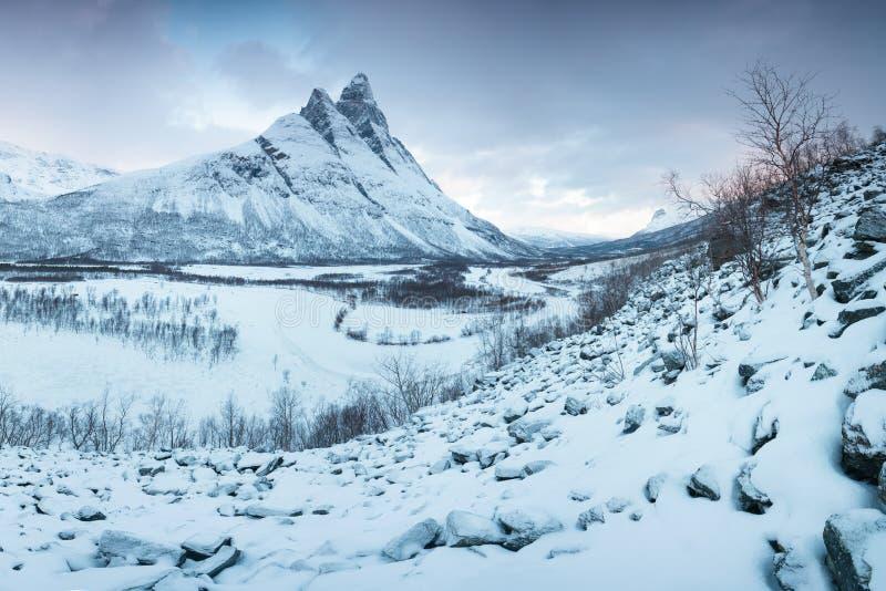 H?rlig landskapplats med den Signaldalelva floden och det Otertinden berget i bakgrund i nordliga Norge solnedg?ng eller soluppg? royaltyfria bilder