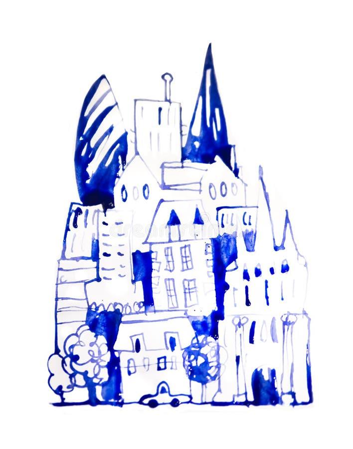 H?rlig modern stadsv?g med skyskrapor, illustration som g?ras av akvarelleffekter Akvarell texturerad samling stock illustrationer