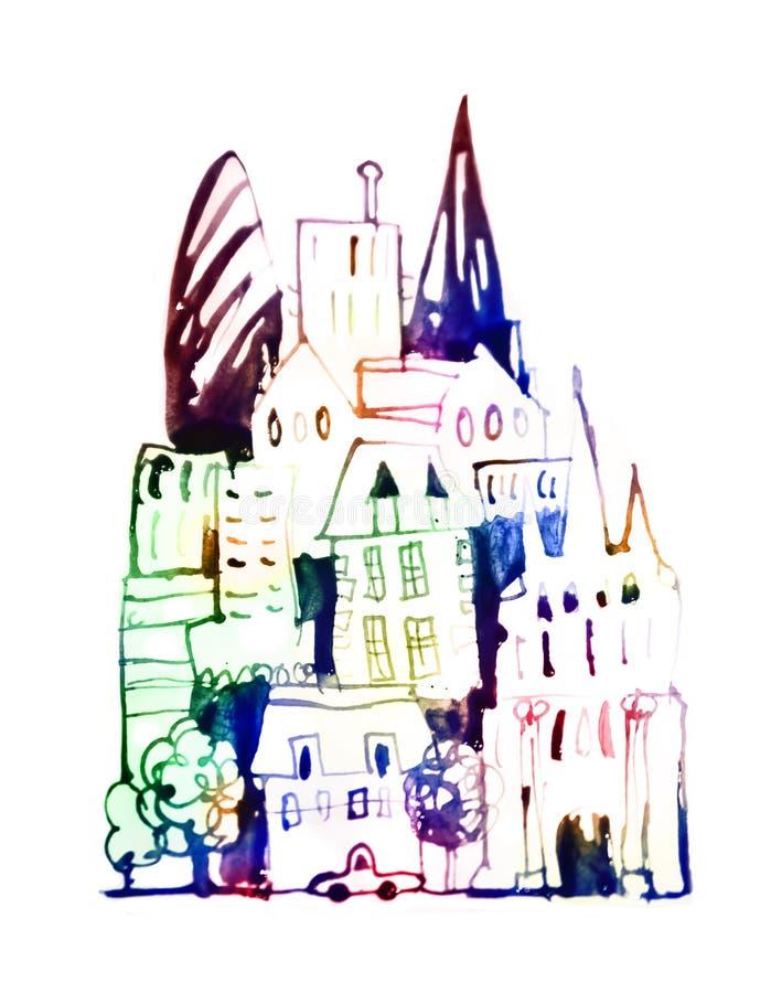 H?rlig modern stadsv?g med skyskrapor, illustration som g?ras av akvarelleffekter Akvarell texturerad samling royaltyfri illustrationer