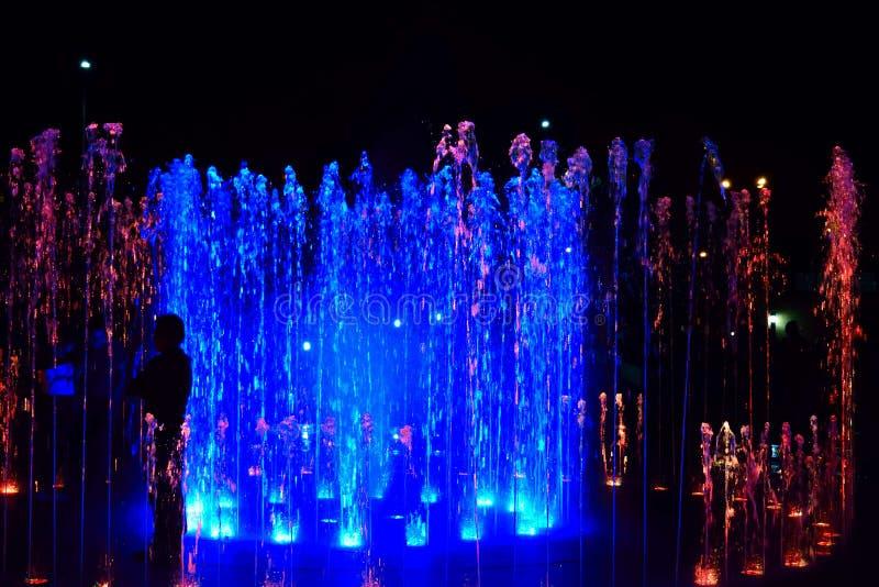 H?rlig och f?rgrik show av att dansa vatten i natten royaltyfri fotografi