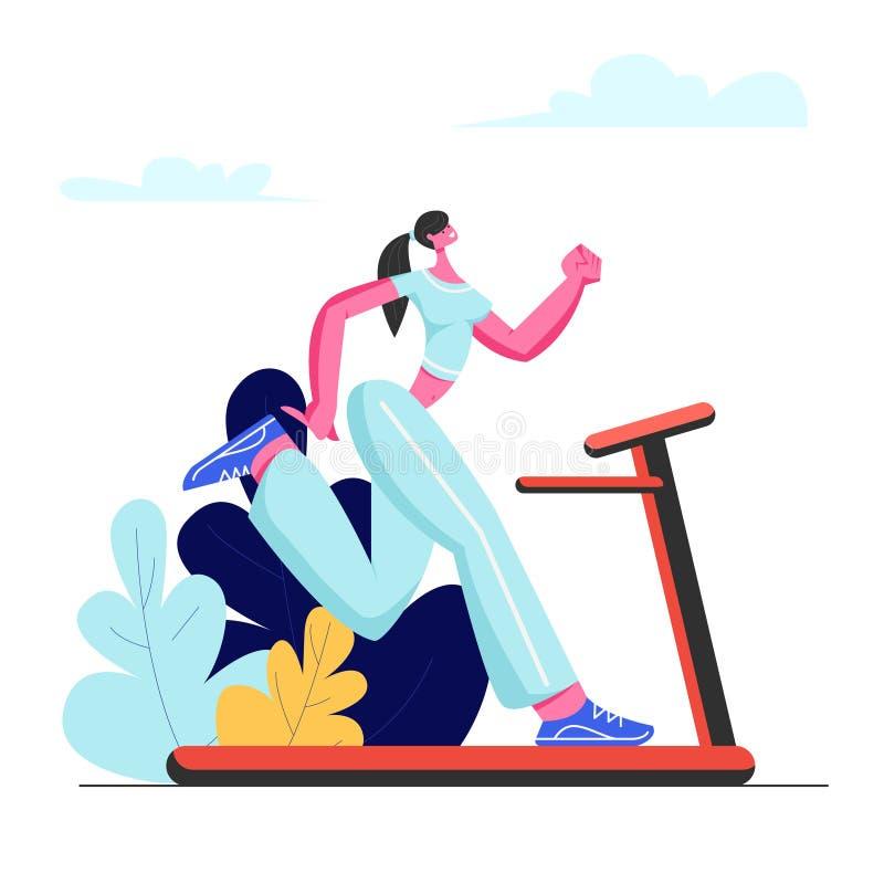 h?rlig running treadmillkvinna Idrotts- ung flicka i Sportswear som ?var p? trampkvarnen f?r att vara slankt Utomhus- kondition royaltyfri illustrationer