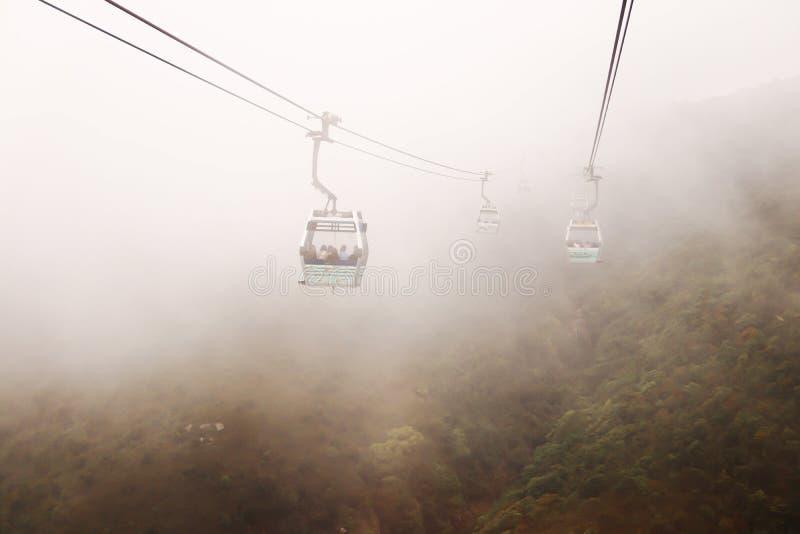 H?rlig sikt av Nong Ping Cable Car med smog royaltyfri foto