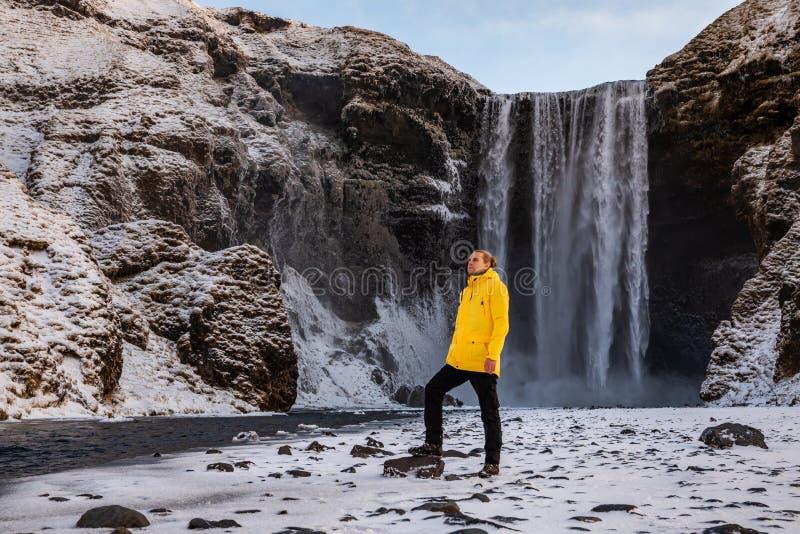 H?rlig Skogafoss vattenfall iceland Vintersikt p? gryning royaltyfri foto