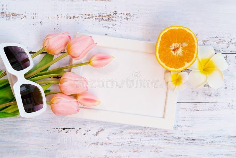 H?rlig sommarferie, strandtillbeh?r-, apelsin-, solglas?gon-, blomma- och fotoram p? tr?bakgrunder arkivbilder