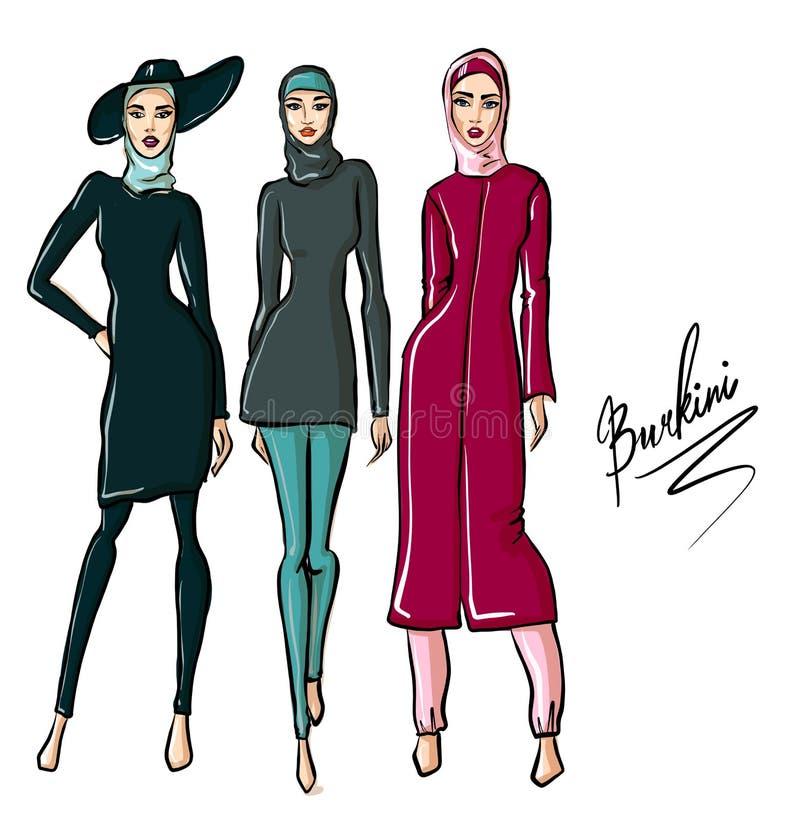 H?rliga arabiska flickor i burkini Utdragen illustration f?r hand av den unga islamiska kvinnan arkivfoton