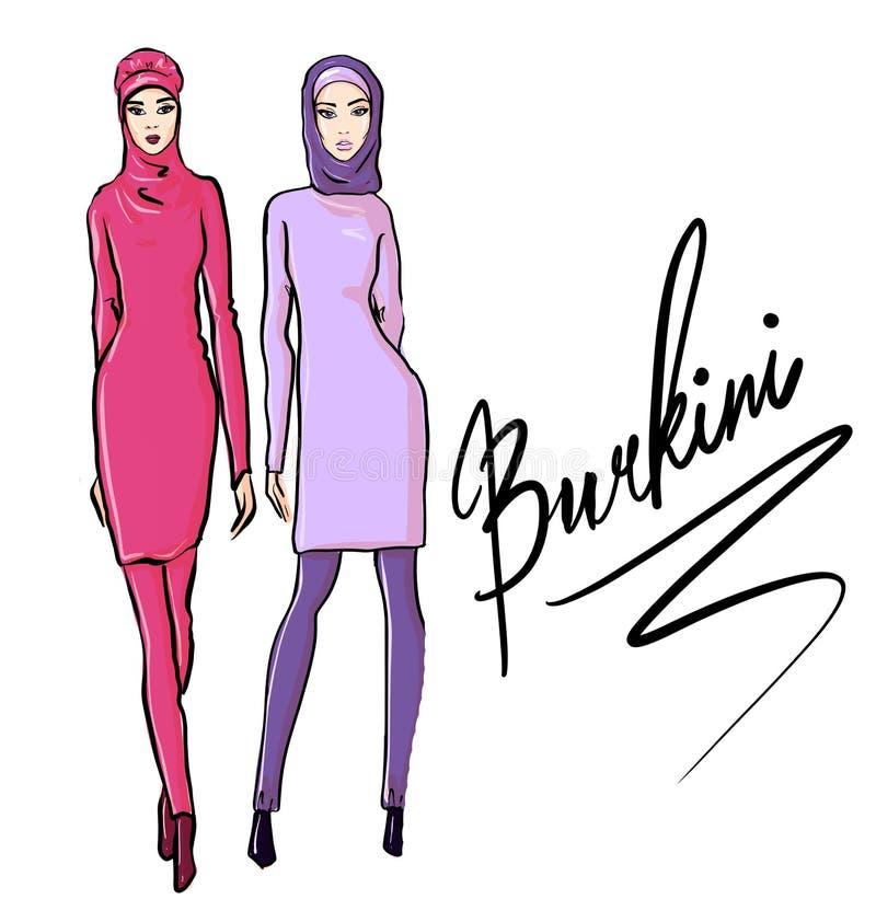 H?rliga arabiska flickor i burkini Utdragen illustration f?r hand av den unga islamiska kvinnan royaltyfri foto